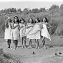 A group of Maori women bathing at the river, Waikato, 1938